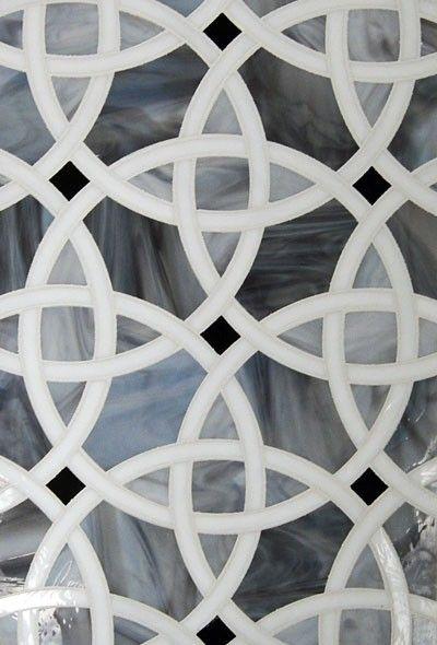 Kaleidoscope Glass Interlocking Circles Tile | Mosaic glass ...