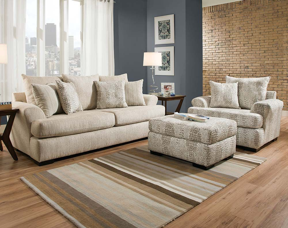 Tan Sofa, Patterned Chair, Ottoman | Oh Henry Sofa and ...