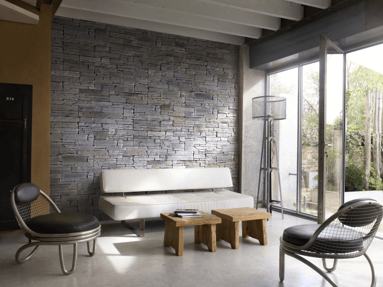 Steinwand Wohnzimmer Modern Design Ideen