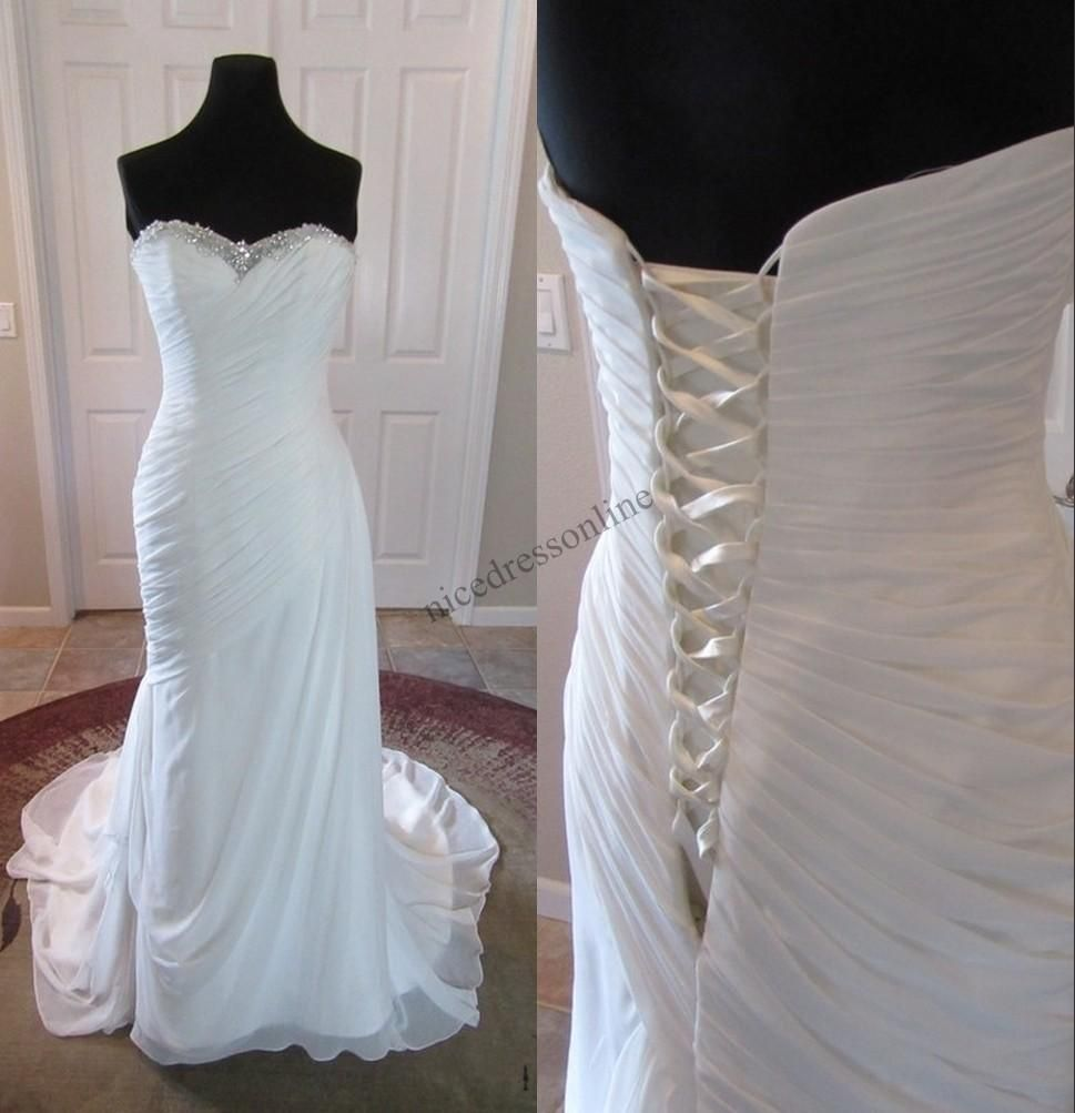 Designer wedding dresses cheap   Beach Wedding Dresses Cheap Real Pictures Crystals Strapless