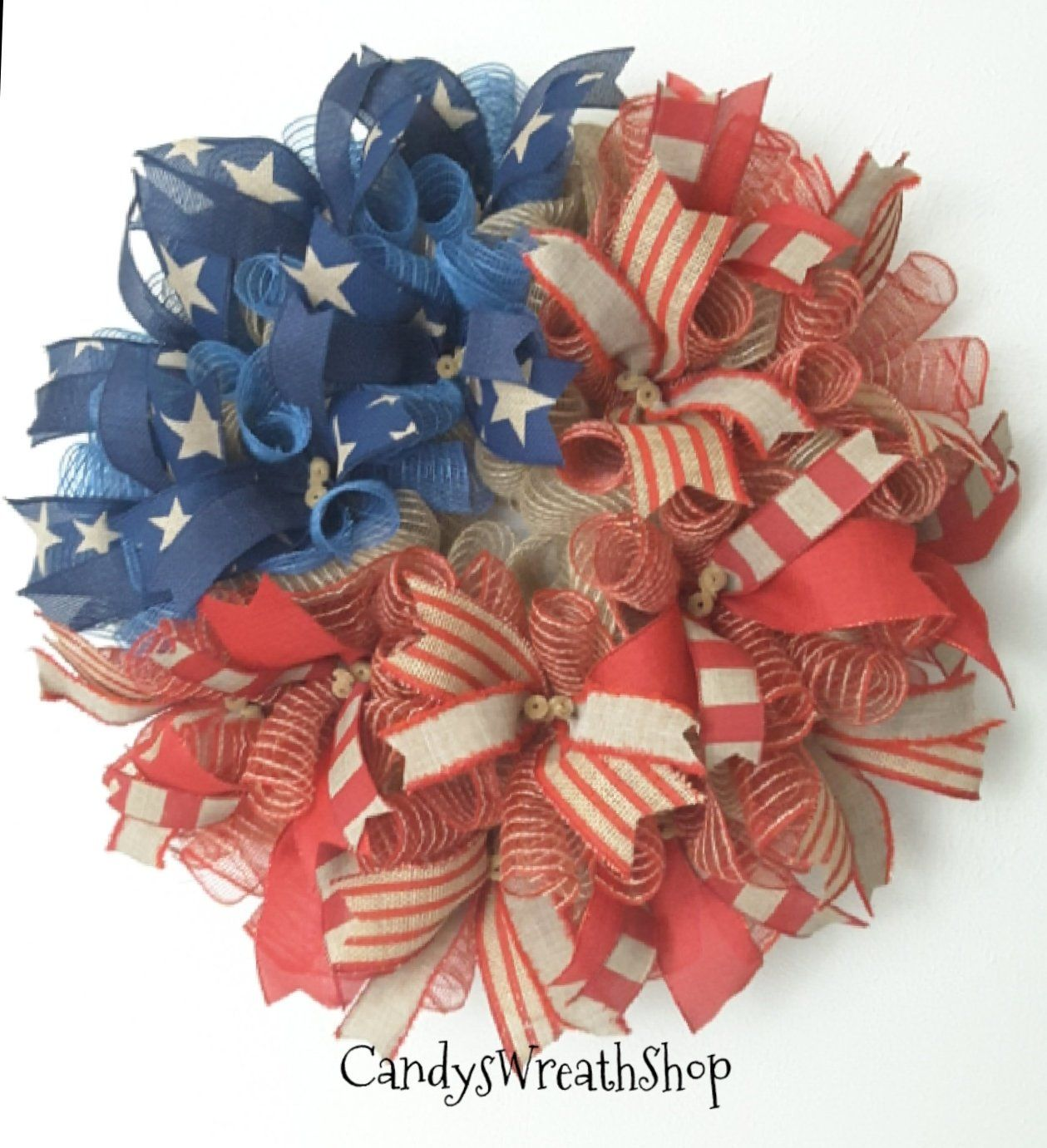 Photo of Flag Wreath, Patriotic Summer Wreath, Patriotic Wreath, Welcome Wreath, Rustic Wreath, Burlap Wreath, July 4th Wreath, Independence Day