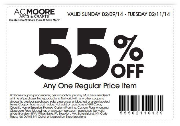 photo regarding Ac Moore Printable Coupon identify AC Moore: 55% off Product Printable Coupon Craft Retail outlet