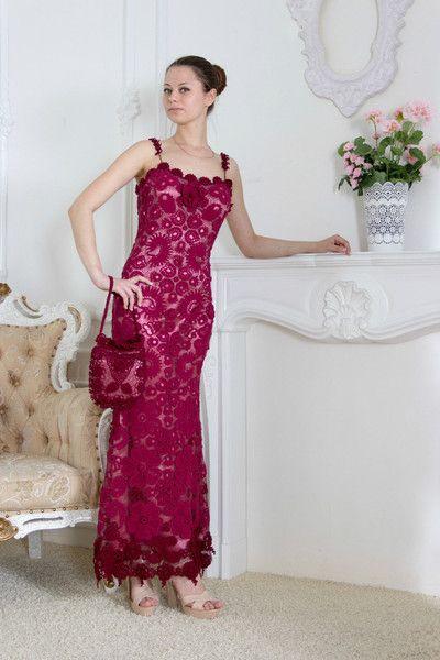 dress Bordeaux from lace-crochet by DaWanda.com