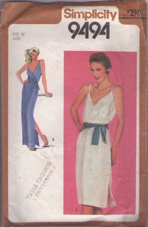 MOMSPatterns Vintage Sewing Patterns - Simplicity 9494 Vintage 80's Sewing Pattern FOXY Low Cut Surplice V Neck Disco Sun Dress, Long Evening Maxi Gown