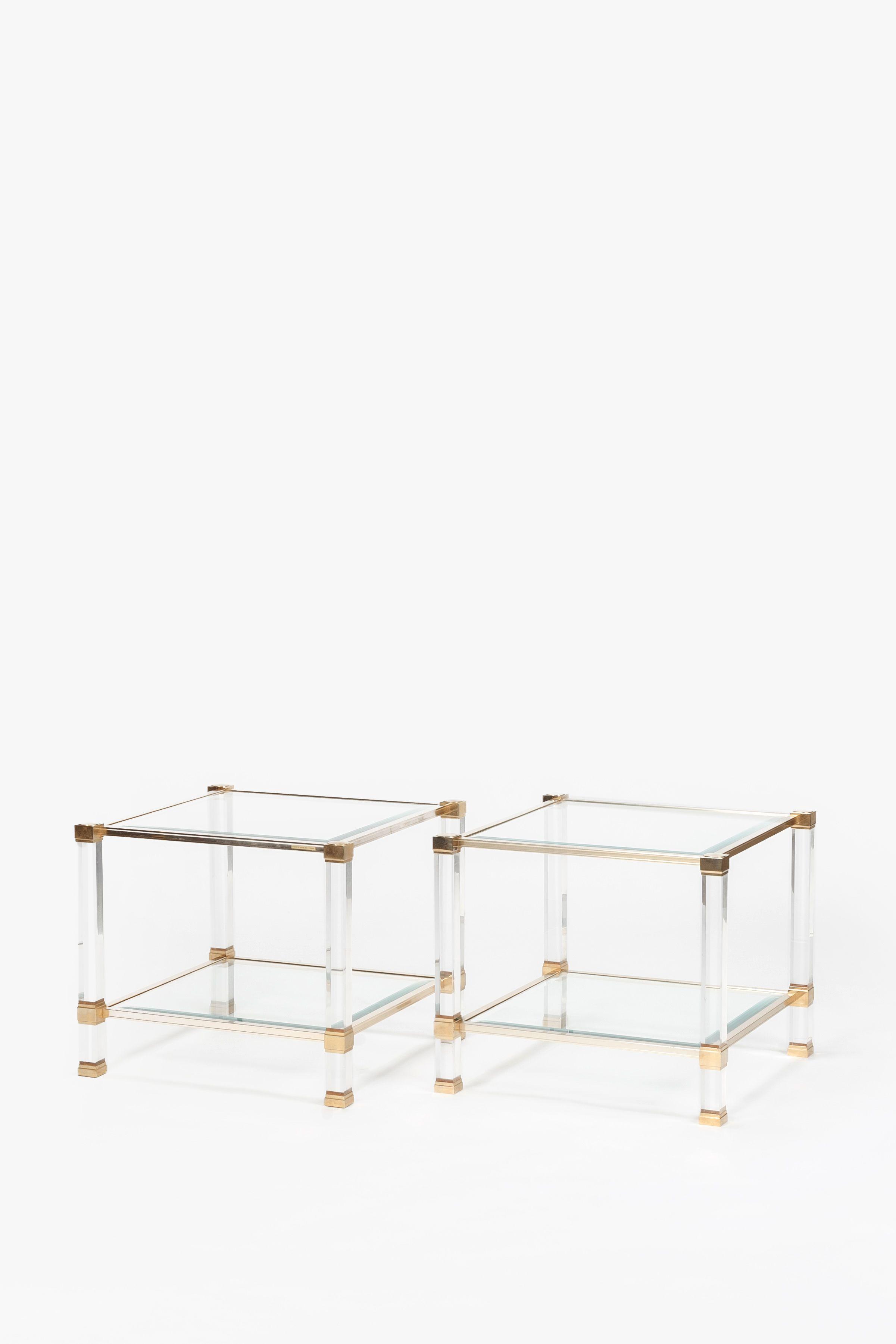 Pair Of Pierre Vandel Side Tables Brass Glass 70 S Brass Side Table Table Side Table