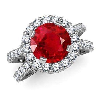 Angara Three Stone Ruby Halo Ring With Diamond Border in White Gold src4EsLSmV