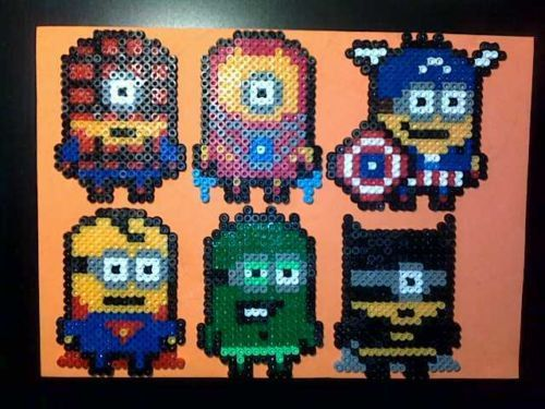 Despicable Me Minions Avengers and Superman hama beads by Bazaar4Geeks