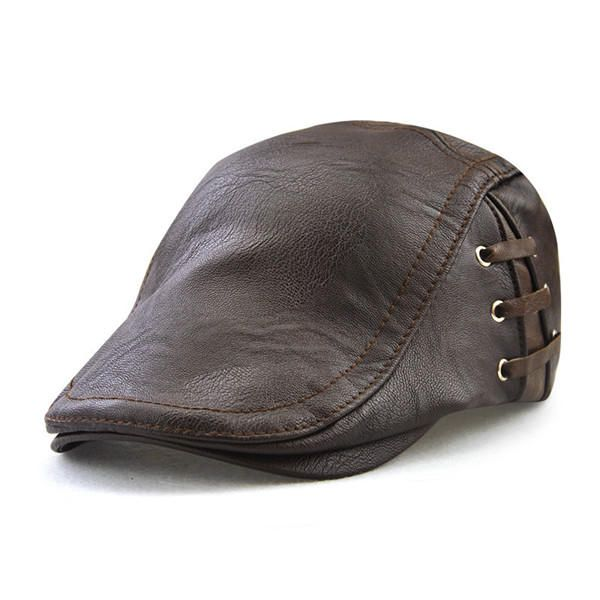 Men Retro Artificial Leather Lace-up Beret Caps Casual Flat Golf Cabbie  Hats Adjustable