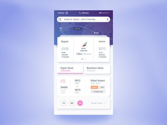air ticket booking app user interface by rifayet uday flight
