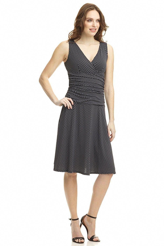 3f02d3c55ca6f Women's Clothing, Dresses, Work, Women's Slimming Sleeveless Fit-and-Flare  Tummy Control Dress - Black/White - CL11KOVKI6X #women #clothing #fashion  ...
