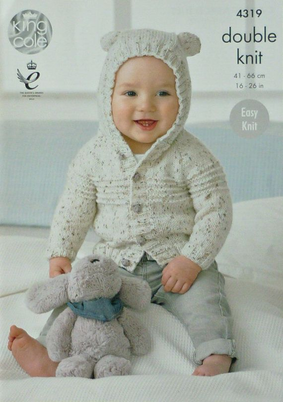 Baby Knitting Pattern K4319 Babys Easy Knit Long Sleeve Hooded