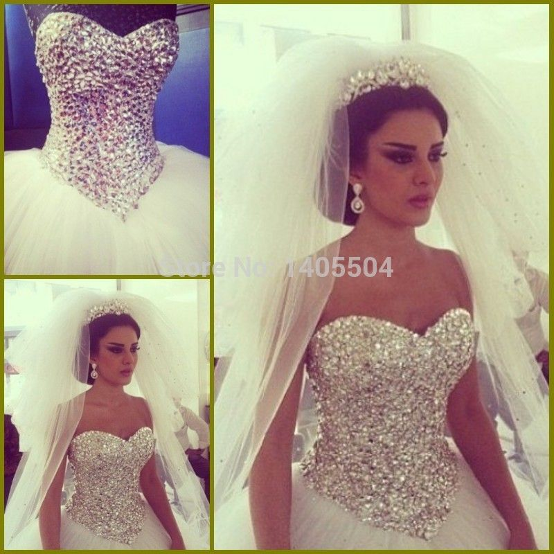 2015 new arrival luxury Wedding dress Pleated tulle crystals pleats bling beaded rhinestone fold bridal gowns vestido de noiva