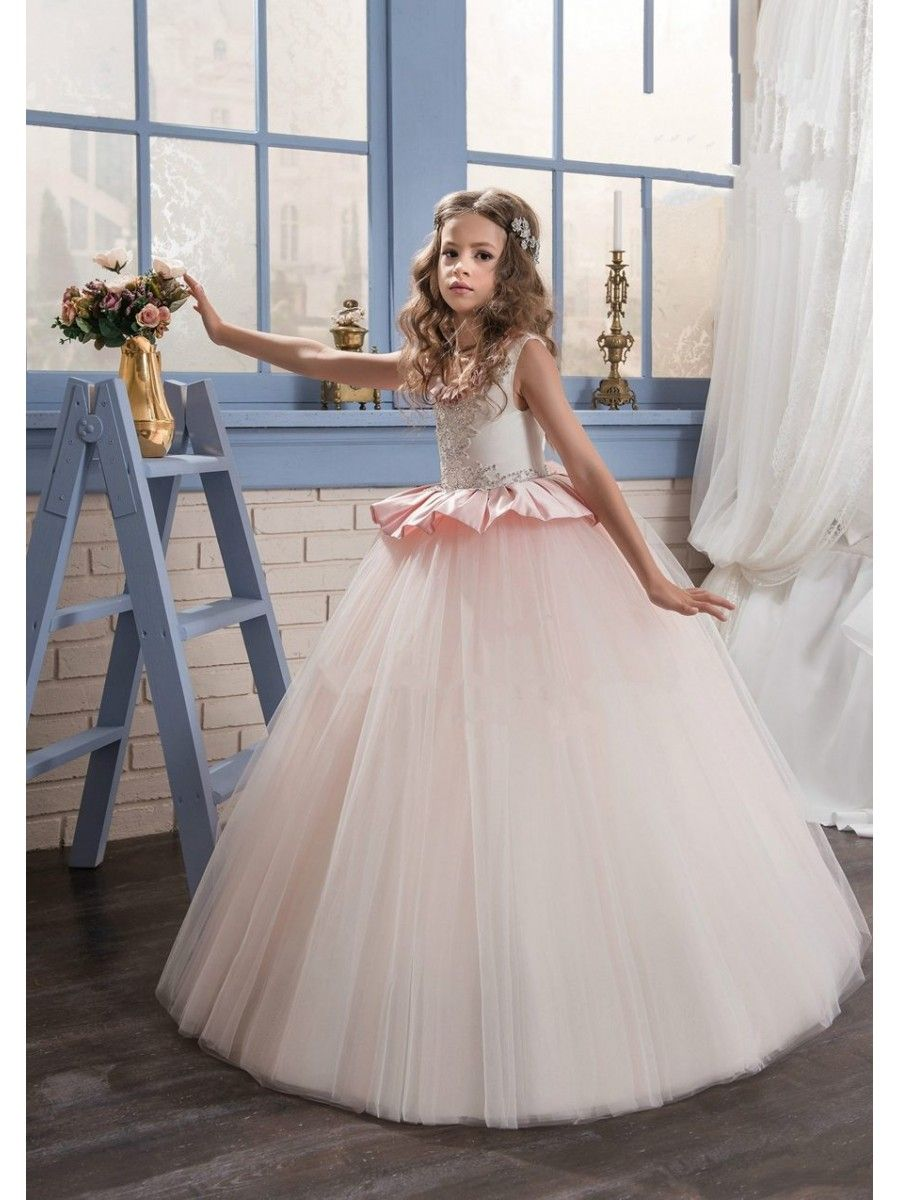 Beaded Lace Appliques Princess Ball Gown Flower Girl Dresses 5501069 ...