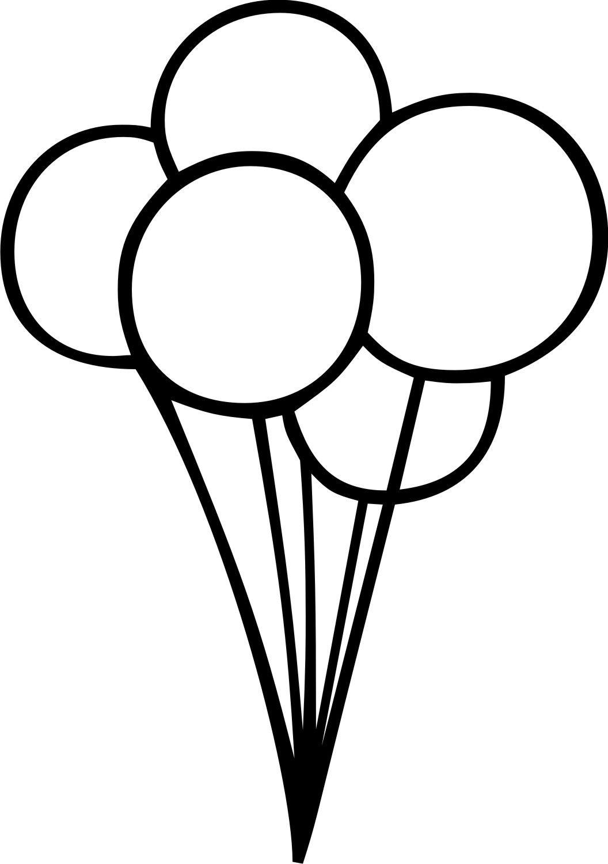 Birthday Balloons Clip Art Black And White 2