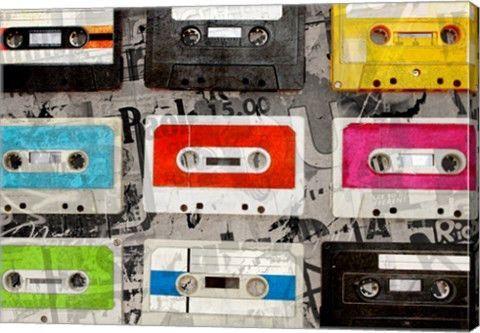 Cassettes Music Canvas Wall Art Print by GI ArtLab