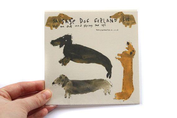 Sausage Dog Garland Kit  Illustrated bunting by FayeMoorhouse, £10.00