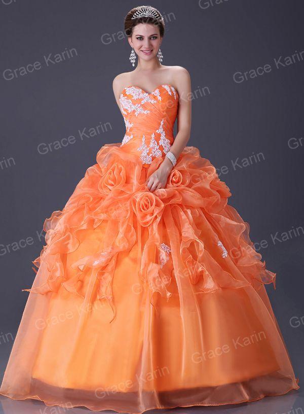 Orange wedding dresses quinceanera orange wedding for Ebay used wedding dresses