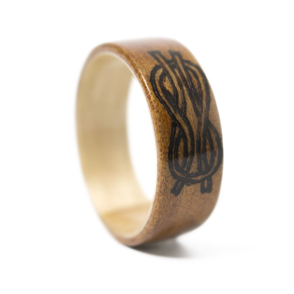 wood black inlay s ceramic rings beveled men teak pin ring in