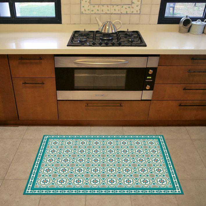 Pet Friendly Decorating Flor Carpet Tiles: Turquoise Vinyl Floor Mat With Decorative Spanish Tiles