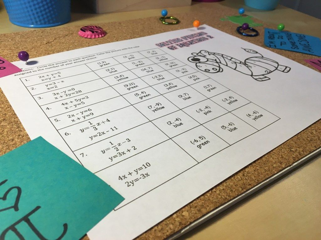 Solving Systems Of Equations Coloring Activity