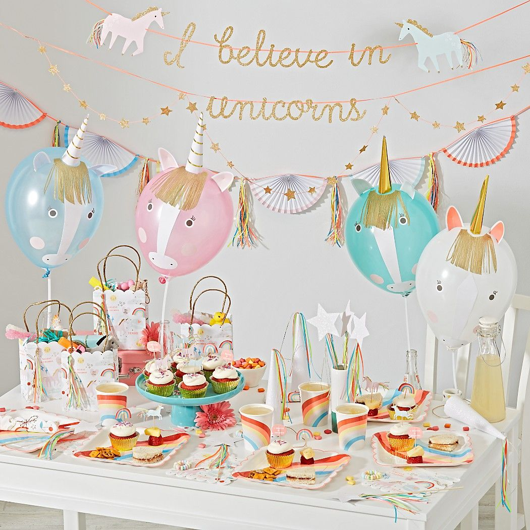 Shop Unicorn Large Garland Invite A Herd Of Your Favorite Mythical Creatures To Your Next Ce Rainbow Unicorn Party Unicorn Party Kids Themed Birthday Parties