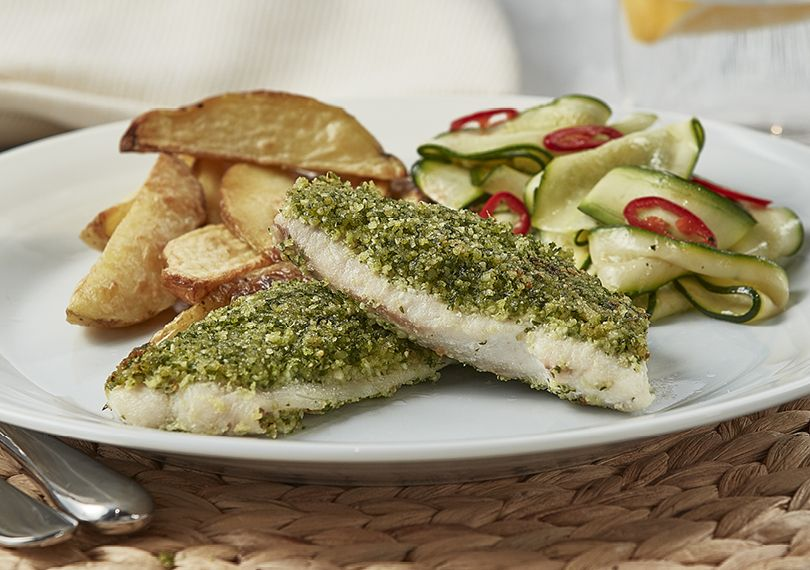 Baked herbed fish courgettes recipe easy countdown