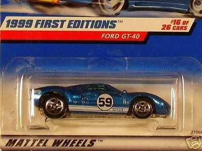 Mattel Hot Wheels 1999 First Editions 1 64 Scale Blue Ford Gt 40