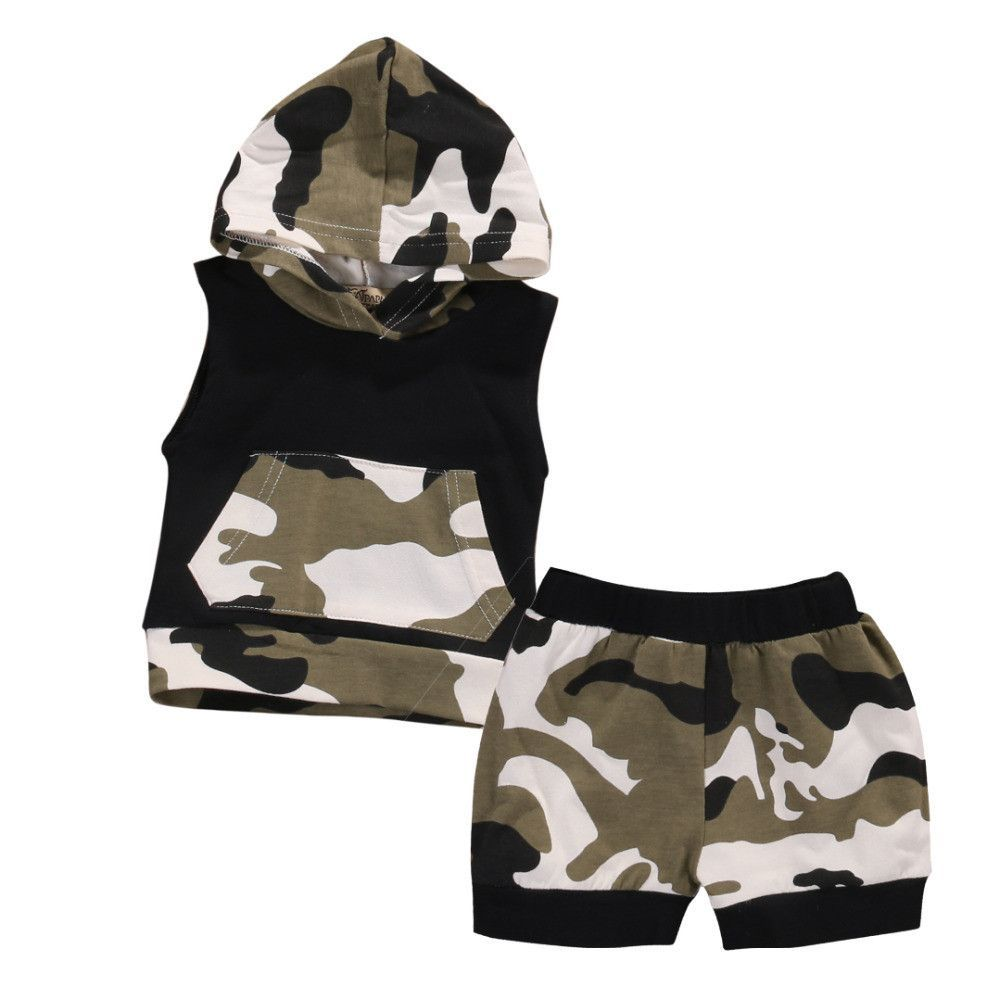 efac3367368 Newborn Infant Baby Boy  Girl Clothes Hooded Vest Top + Short Pants   2  Piece Camouflage Outfit