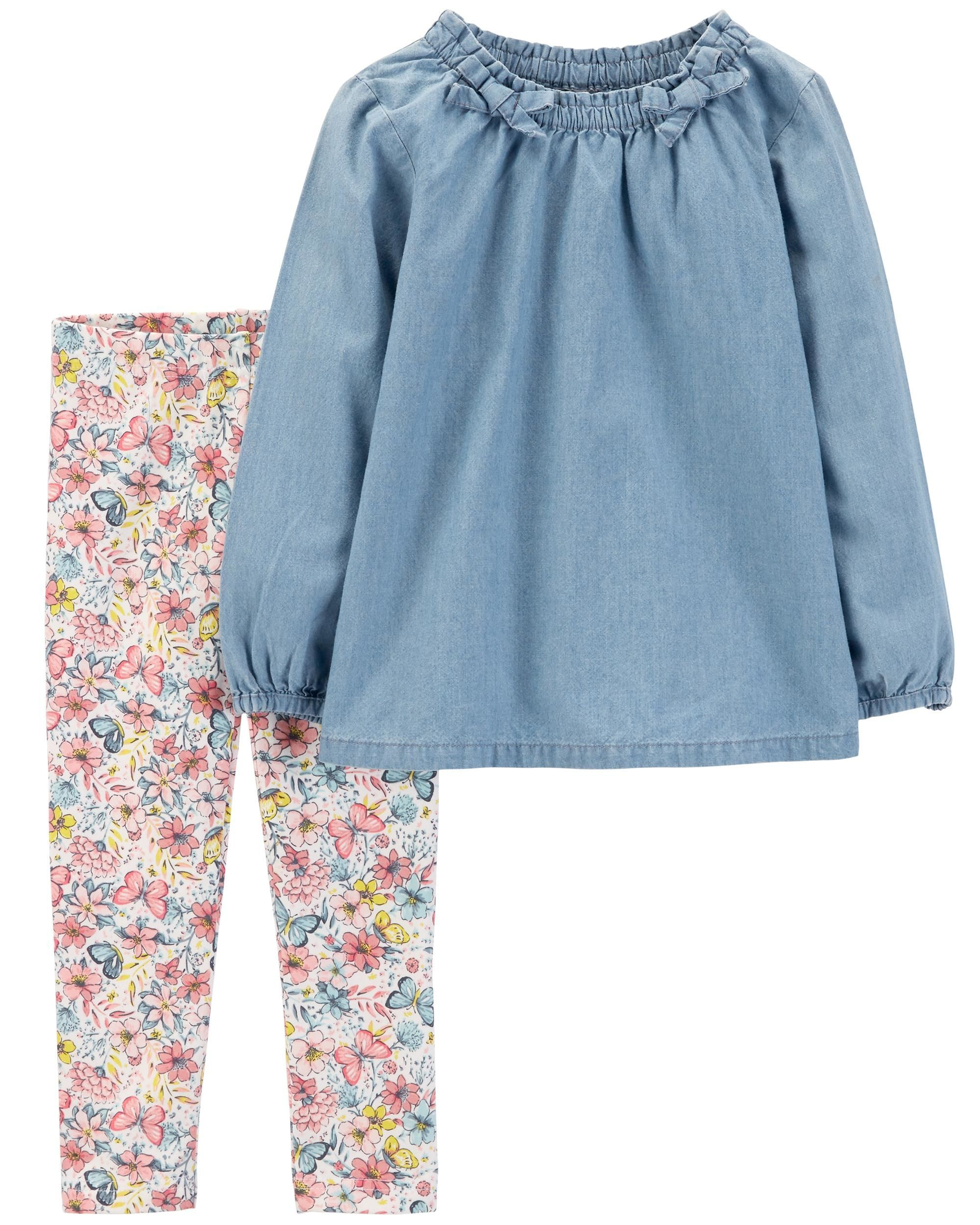 6a1327653d 2-Piece Chambray Top & Floral Legging Set | Outfits-Girls▫Shorts ...