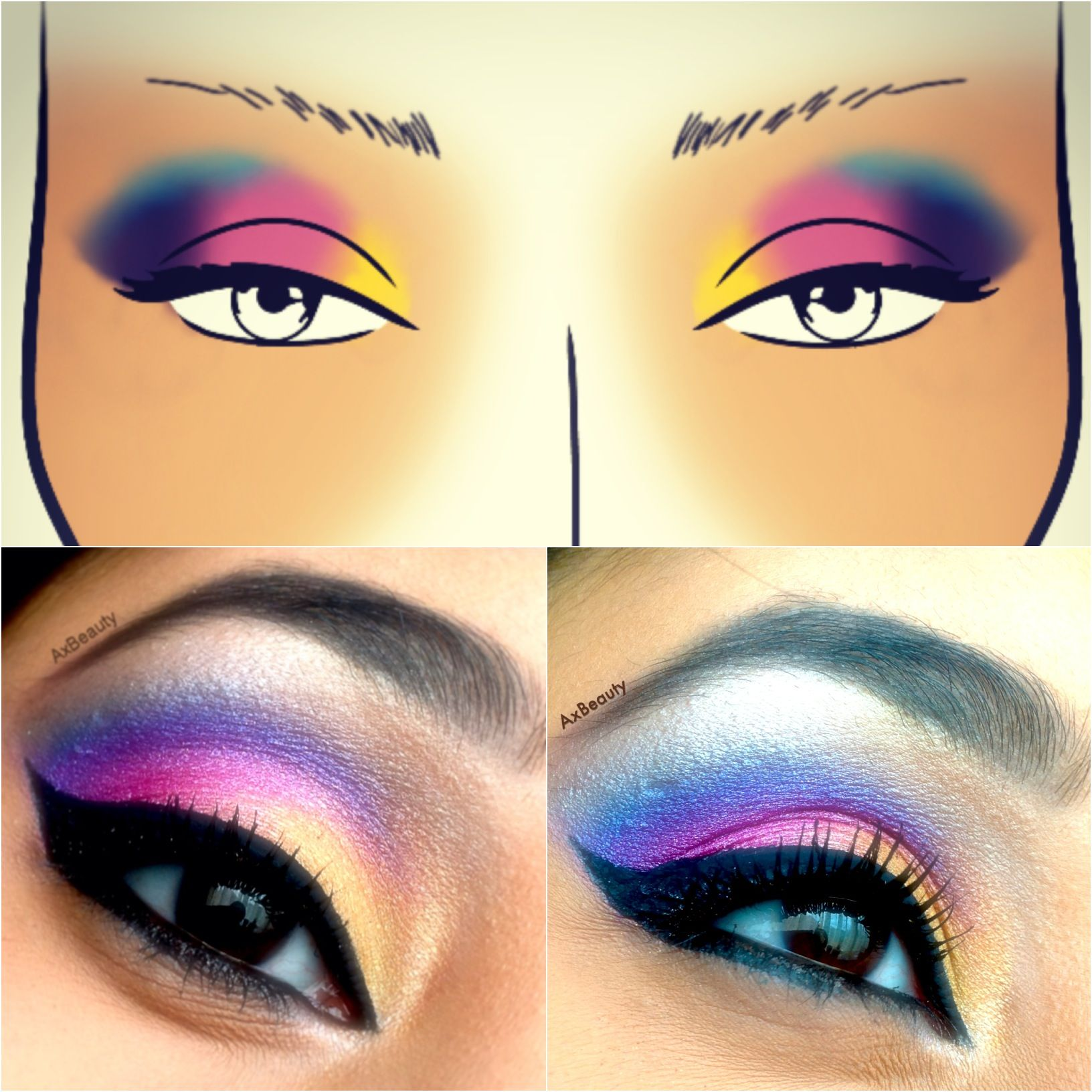 New makeup look EXOTIC. Using #facecharts to create beautiful makeup looks! Visit my blog to find a blank facechart for you to practice on! http://axbeautymua.blogspot.co.uk/2013/01/exotic.html