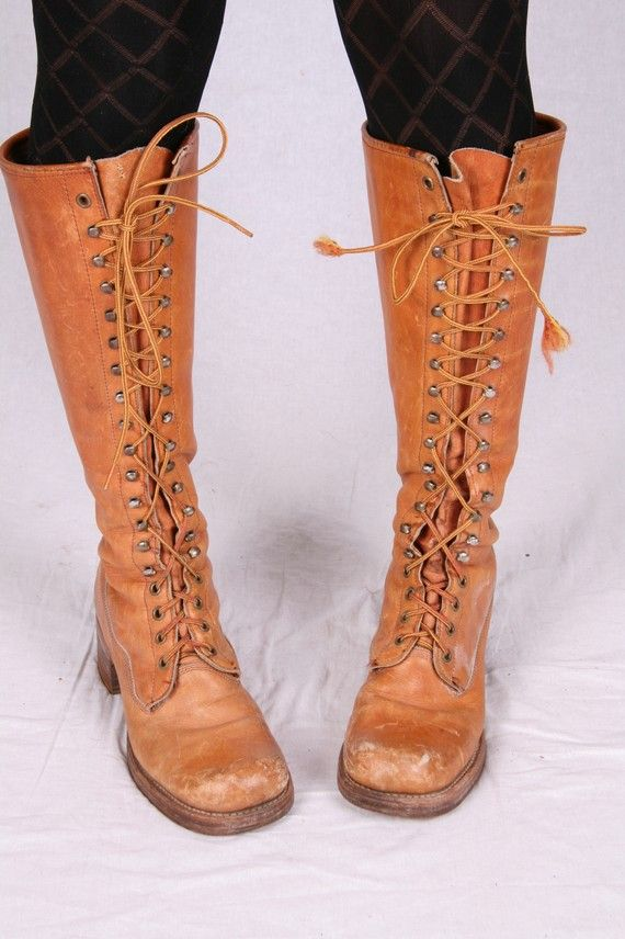 Vintage Frye Boots Lace Up | VINTAGE FRYE BOOTS LACE UP BLACK LABEL KNEE HIGH BOOTS CAMPUS BOOT ...