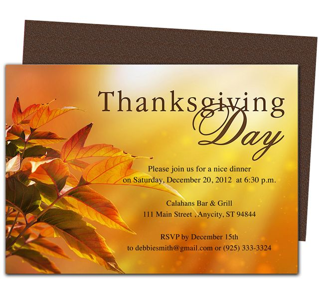 Thanksgiving Blessings Thanksgiving Party Invitation Template - Party invitation template: thanksgiving party invitation templates