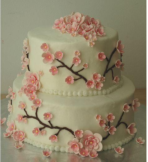 Cherry Blossom Wedding Cake Help How To Apply The Flowers Cherry Blossom Wedding Cake Cherry Blossom Cake Birthday Cake Decorating