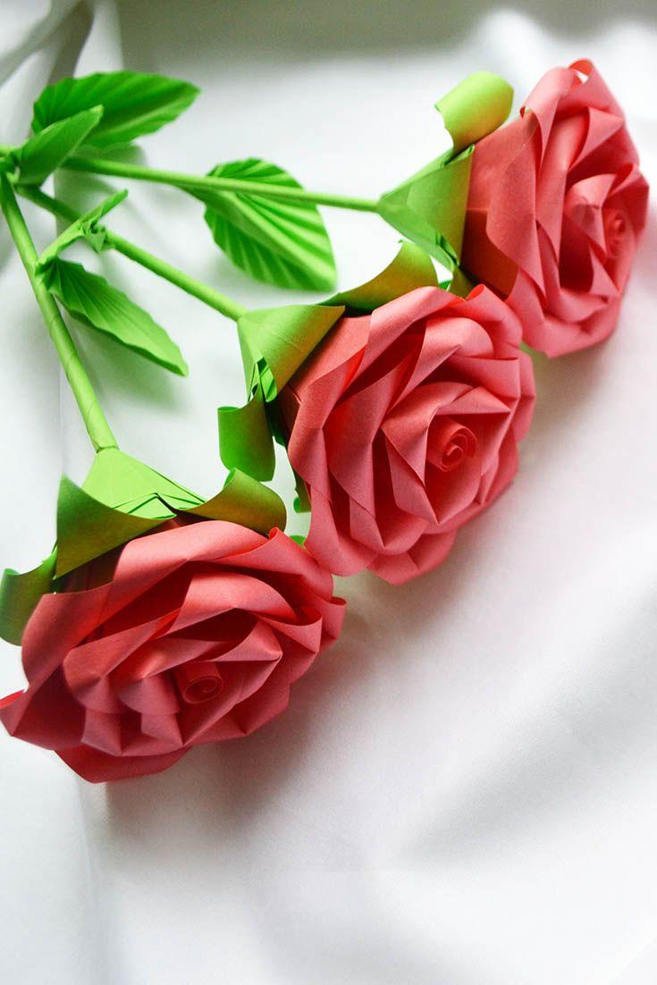 Beautiful Flowers Rose Bouquet Origami Paper Tutorial Diy