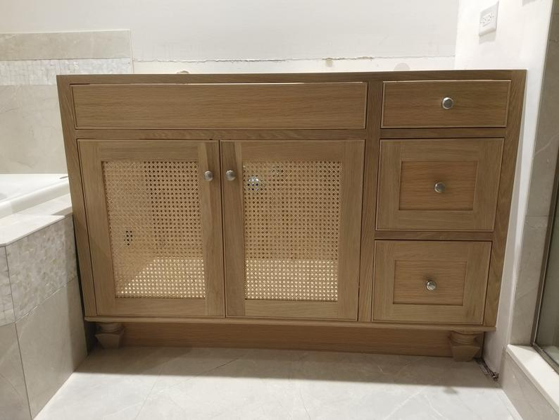 White Oak Vanity With Cane Webbing Panel Doors Oak Bathroom Vanity Oak Vanity Bathroom Rustic Bathroom Vanities