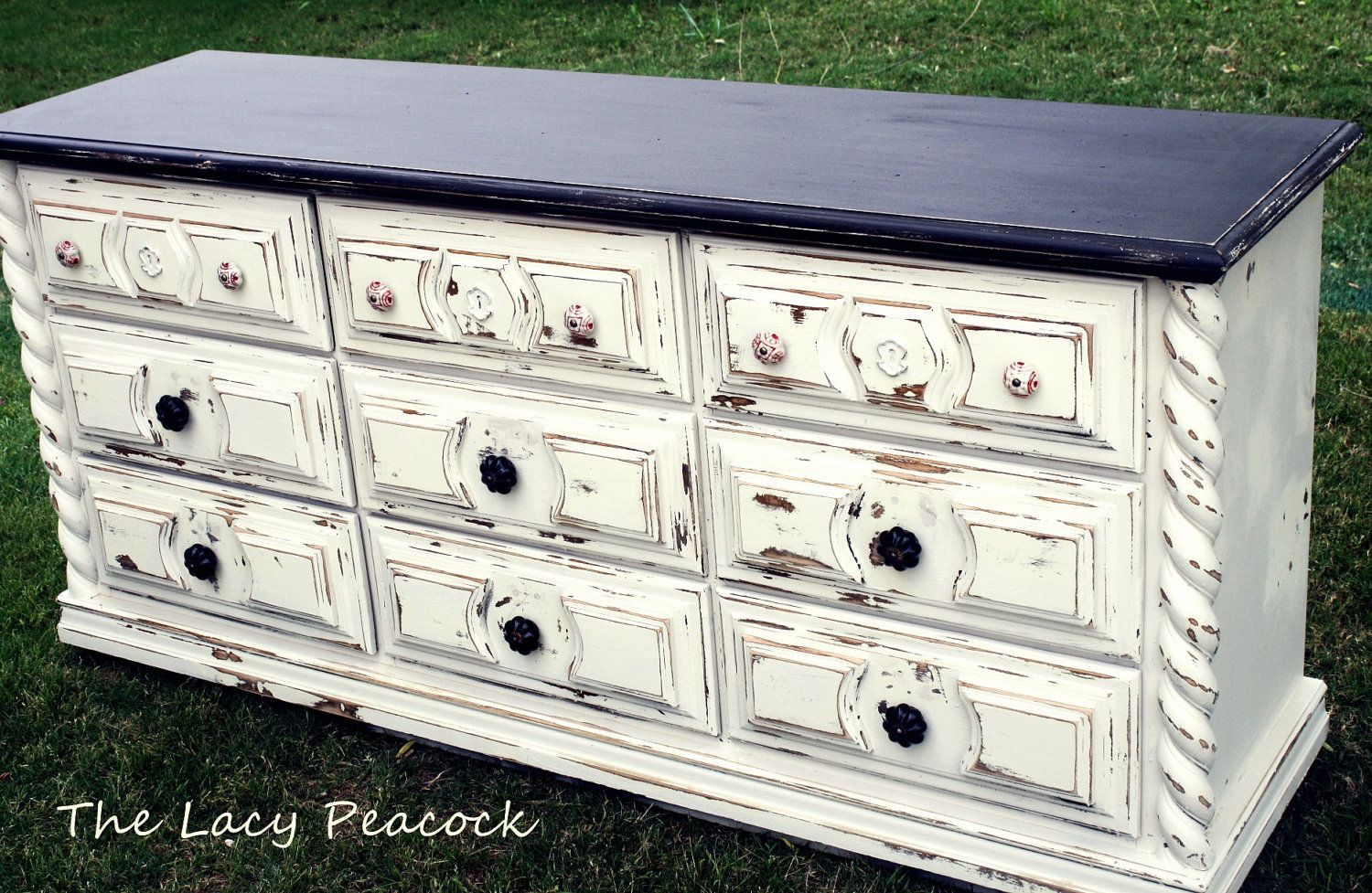 Custom Order Ivory And Black Distressed Dresser By Thelacypeacock I Love This Distressed Dresser Black Distressed Dresser Dresser With Tv [ 977 x 1500 Pixel ]