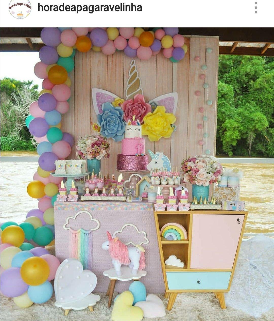Unicorn Theme Birthday Party Dessert Table and Decor