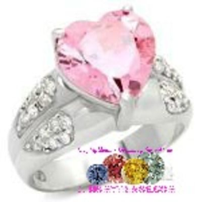 Pink heart shaped silver ring with cz accents vbmt09-05171