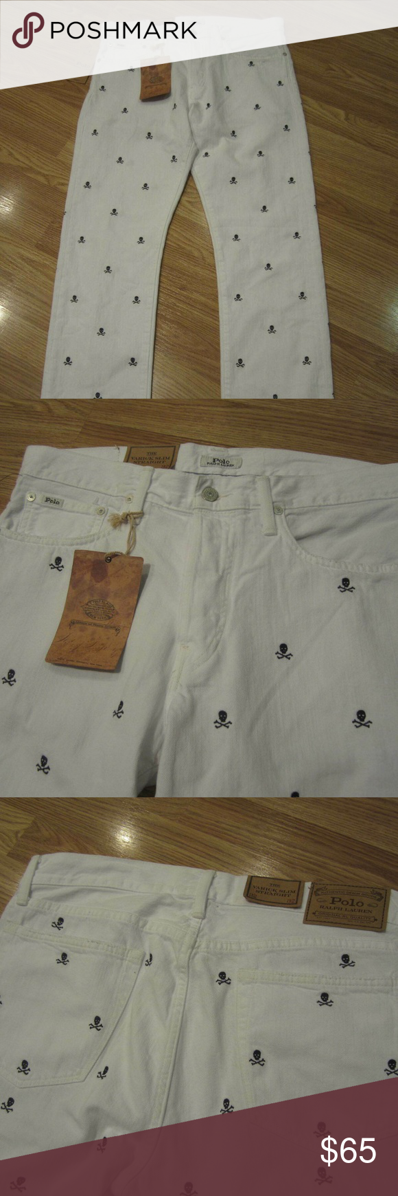 20ee30a0 Polo Ralph Lauren Varick Slim Straight Skull Jeans NEW with tags! Mens Polo  Ralph Lauren White Jeans with Skulls embroidered all over.