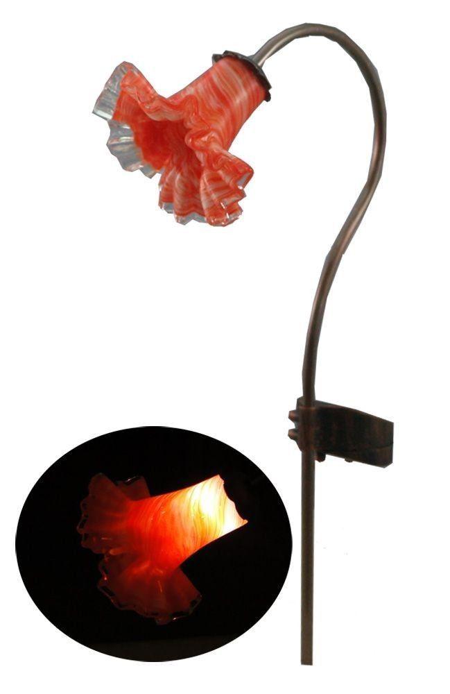 14 Inch Hand Blown Glass Solar Power Flower Garden Stake Light Decoration  #GARDENBRIGHTPLUS