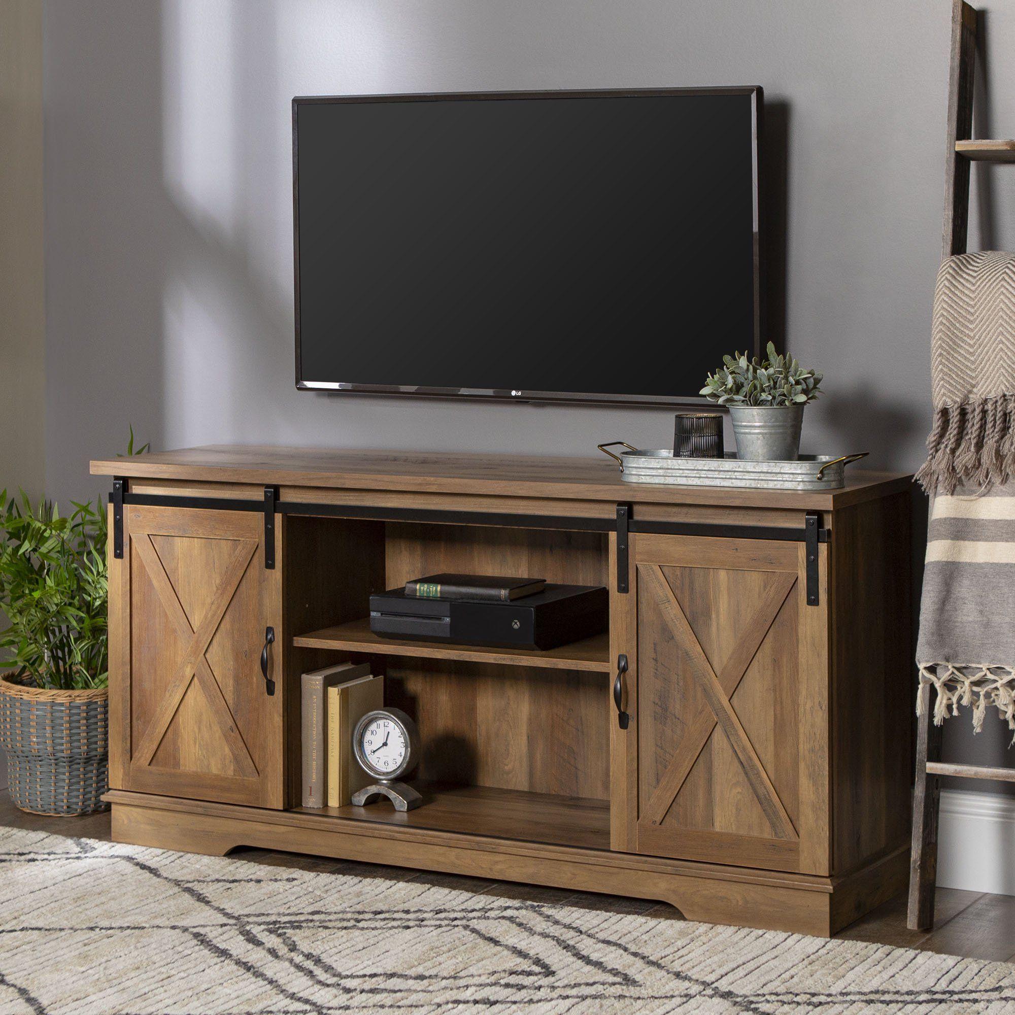 Manor Park Oak Barn Door Tv Stand For Tvs Up To 65 White Oak Walmart Com Walmart Com In 2020 Barn Door Tv Stand Barn Door Console Rustic Tv Stand