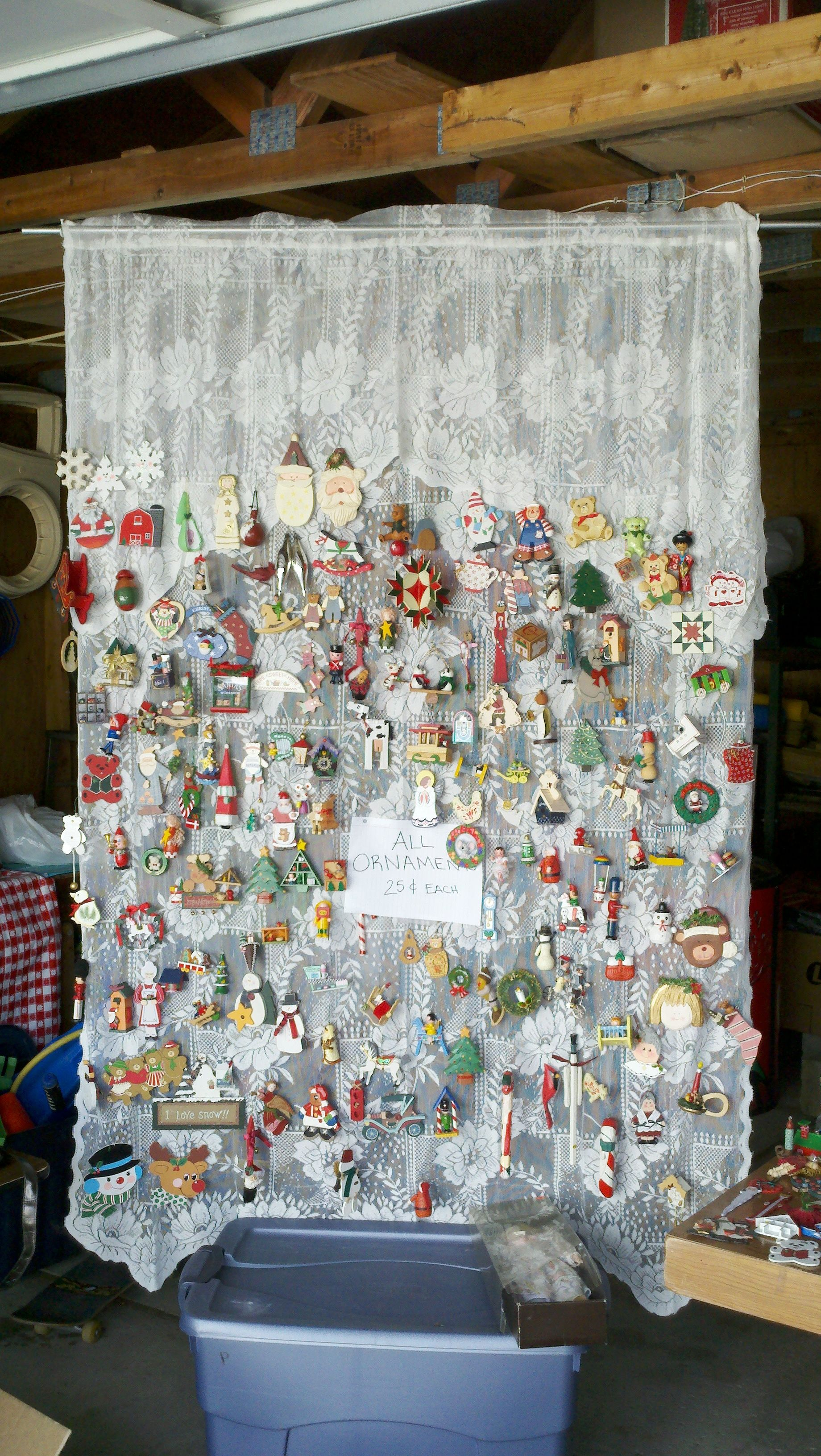 Good Idea Selling Ornaments At A Garage Sale Lace Curtain You