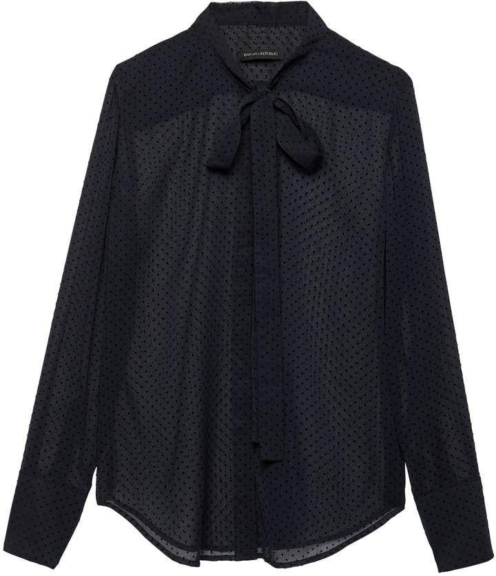 dbf49faeeb4b Petite Dillon Classic-Fit Sheer Clip-Dot Tie-Neck Shirt | Banana Republic