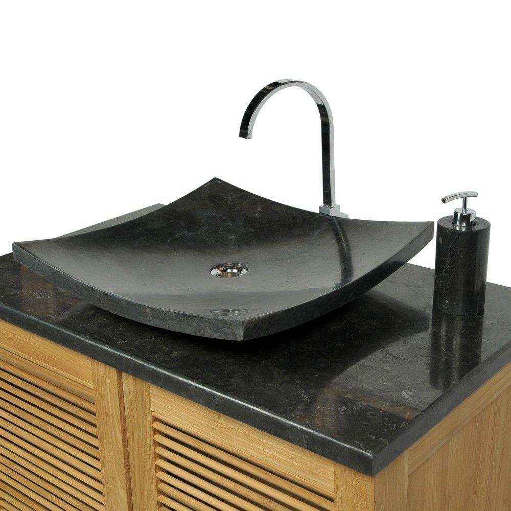 Naturstein Marmor Stein Waschbecken Zen Waschtisch Quadratisch O 50cm Schwarz Waschbecken Steinwaschbecken Waschtisch