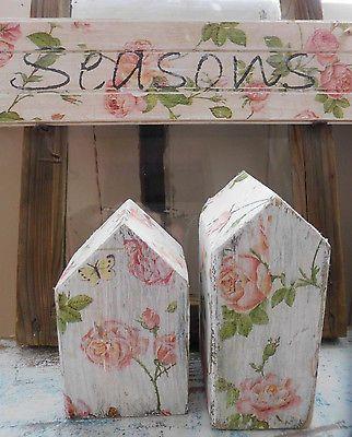 Rosenhäuschen: romantisches Deko-Set, decoupage auf Altholz, Houses of roses: decoupage and decoration