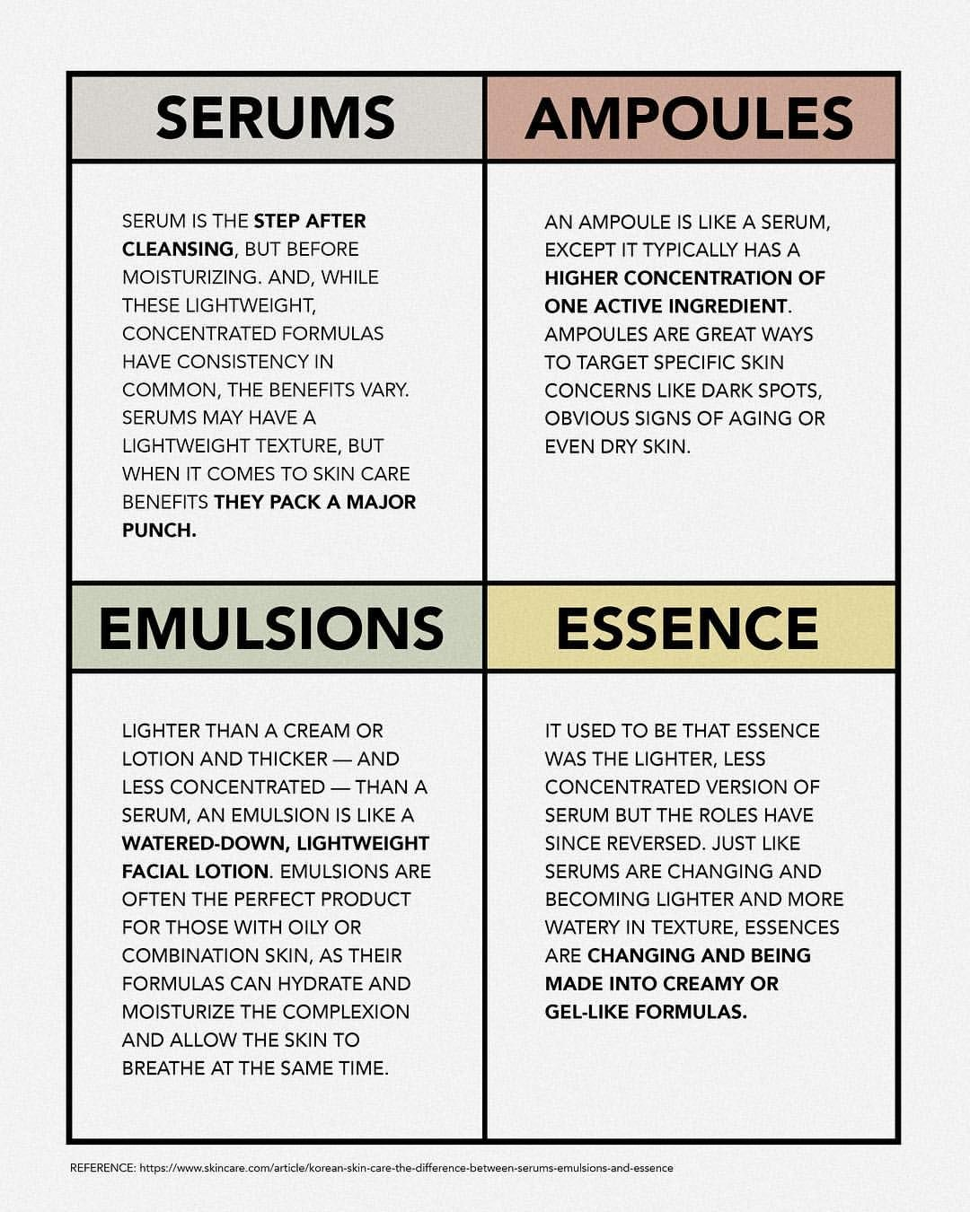 Difference Between Serums Ampoules Emulsions Essence Visit My Ig Account Sarahthecara Click Visit Skin Care Beauty Skin Care Routine Skin Facts