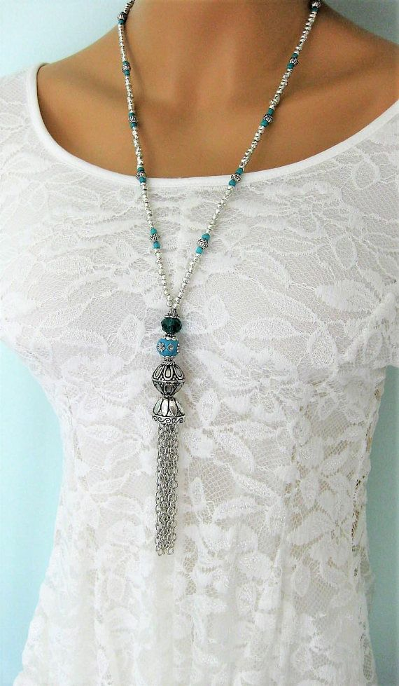 LONG TURQUOISE /& BLUE BEADED TASSEL NECKLACE SILVER PLATED /& CROCHET focal BEAD