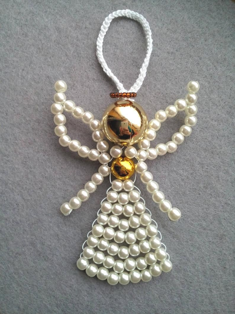 How To Make Beaded Angel Beaded Angel Tutorial Beading Pattern Christmas Ornament Beaded Ornament Pattern In 2020 Beaded Angels Beaded Ornaments Beading Patterns