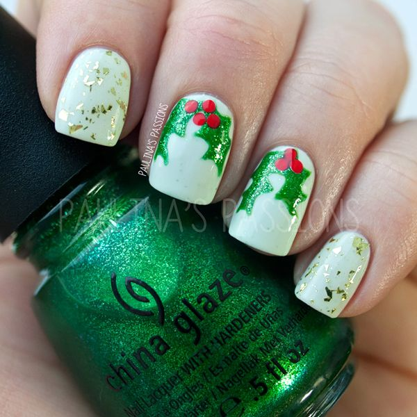 Christmas Nails - Holy Leaves | Uñas | Pinterest | Esmalte y Maquillaje