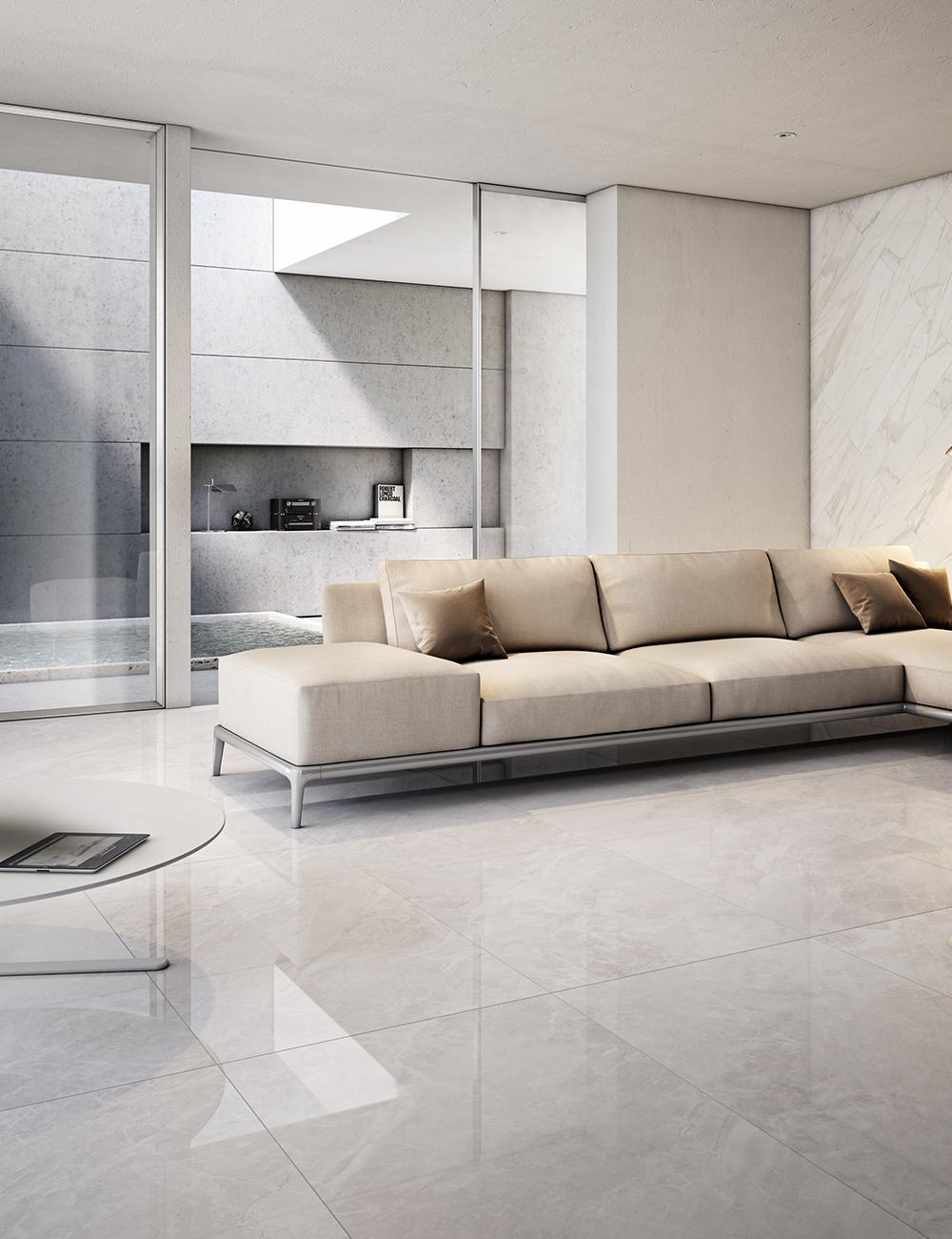 Pavimento Finto Marmo Lucido piastrella luni grigio 60x60 lappato effetto marmo